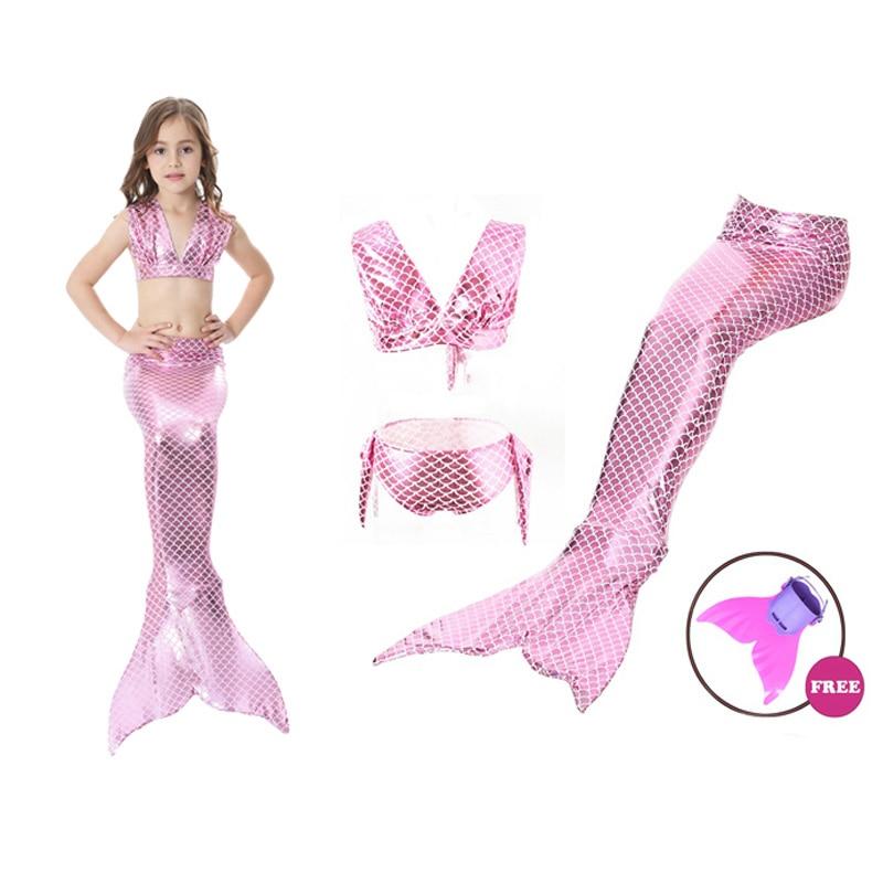 bc389bfa6 Conjunto de Bikini de cola de sirena para niñas de verano con Monofin  Flipper Swimmable ...