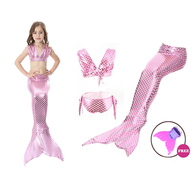Summer Baby Girls Swimming Mermaid Tail Bikini Set with Monofin Flipper Swimmable Zeemeerminstaart Met Mermaid Costume for Kids