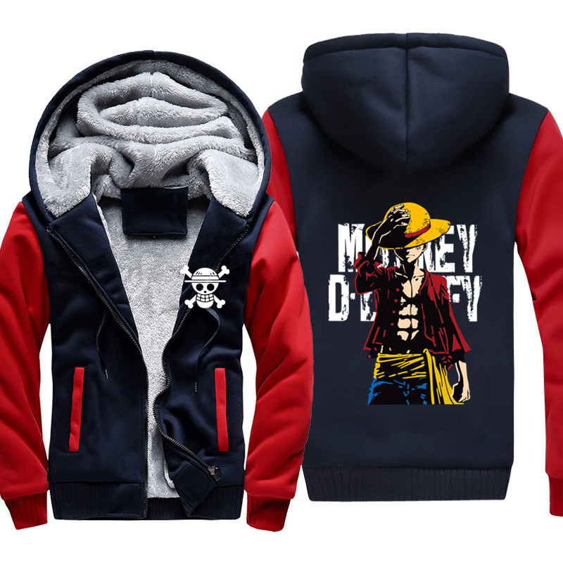 Anime One piece Monkey <font><b>D</b></font> Luffy sweatshirt men <font><b>2019</b></font> New Casual Coat Jacket Winter Men Thick Zipper Warm Sweatshirt image