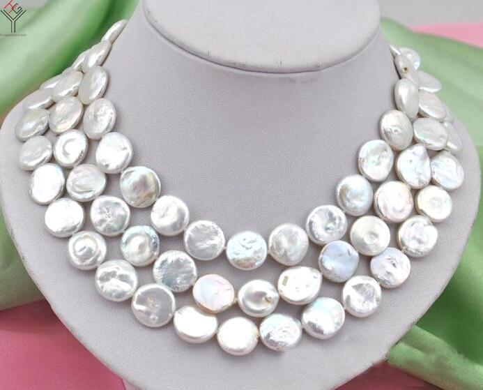 Femmes bijoux 10x12mm perle 50 ''127 cm collier blanc rond tranche coin perle fait à la main réel naturel perle d'eau douce cadeau