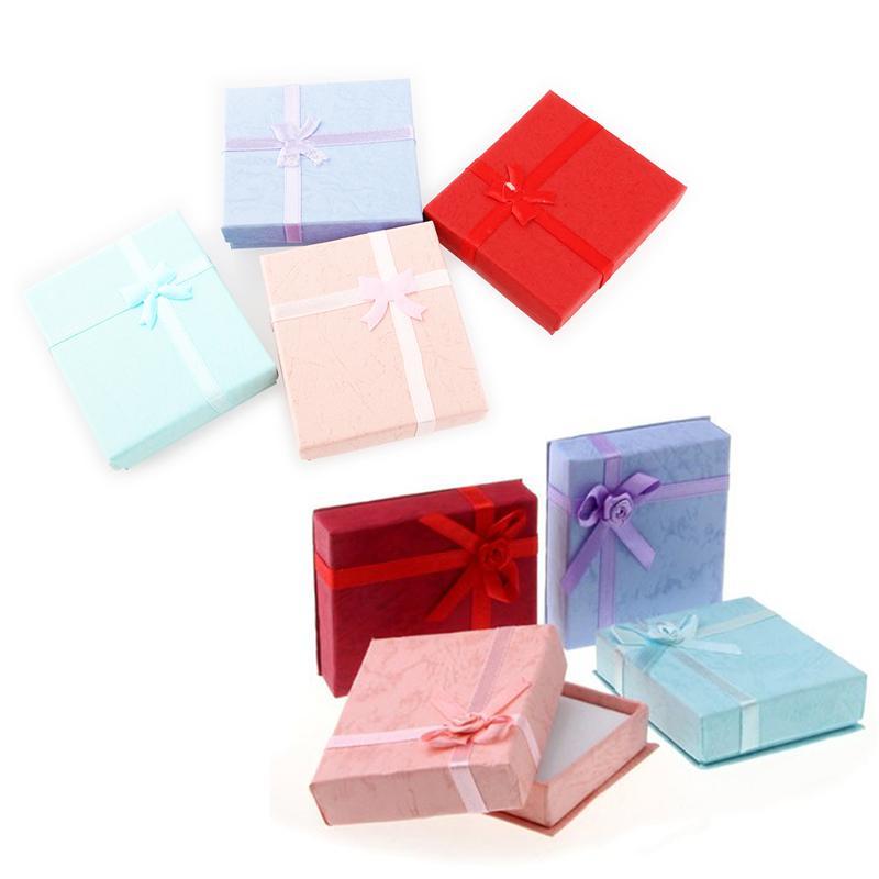 16pcs 4 Colors 7*8cm Bowknot / Roseknot Style Earring Bracelet Necklace Jewelery Storage Box Gift Box Organizer