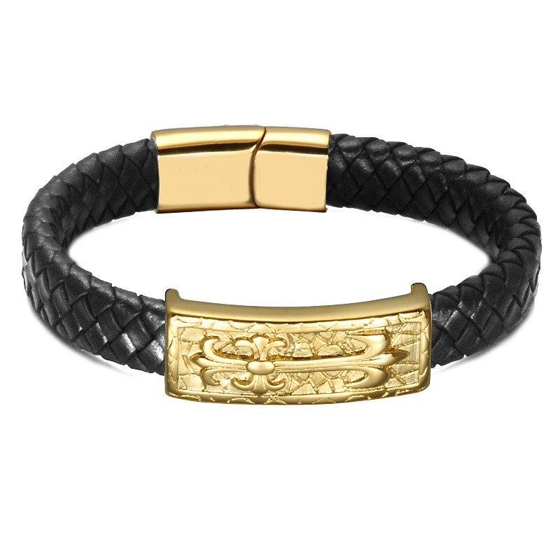 Хорошее качество, модные ювелирные изделия кожи веревку Ткачество браслет из нержавеющей стали крест энергии браслет ip gold покрытие браслет