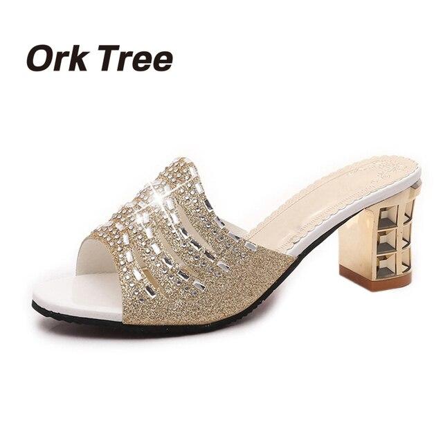 f1da36eb01d3 Ork Tree New Gold Slippers Women Shoes Fashion Rhinestones Summer Open Toe  Wedges Sandals Square Heel Women Mules 45