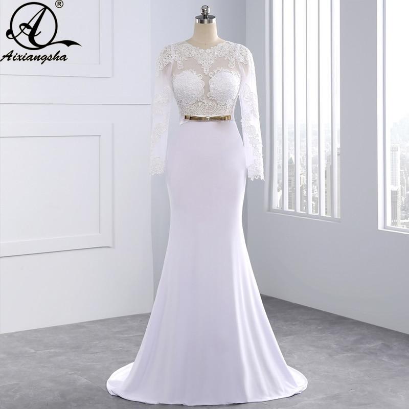 Elegant Silk Wedding Dresses With Sleeves: New 2018 Elegant Sexy Wedding Dresses Scoop Sheath White