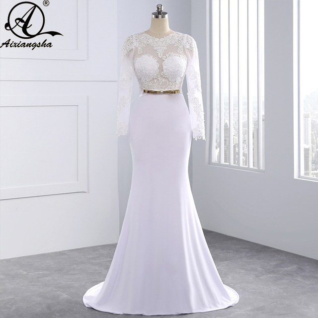 New 2018 Elegant Sexy Wedding Dresses Scoop Sheath White Satin Bridal & Events Gowns De Noiva New Arrival Long Sleeve  Lace Gown