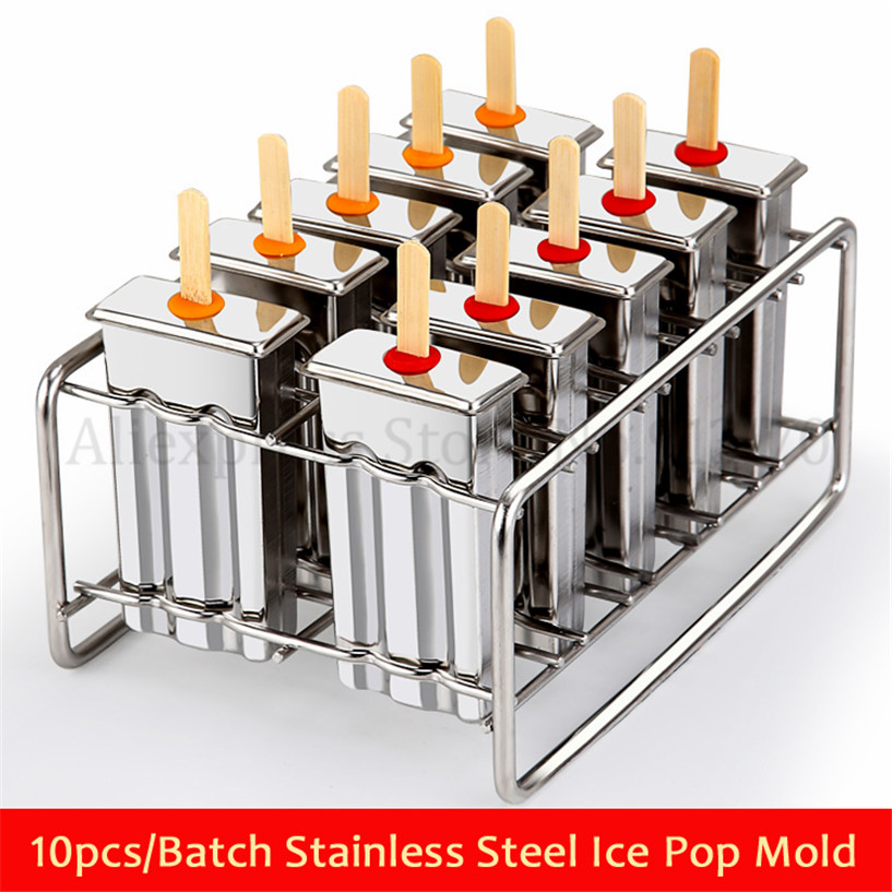 Ice Pop Lolly Molds Ice Cream Moulds DIY 10pcs/Batch Stainless Steel Popsicle Mold Stick Holder Molds Silver Summer Home