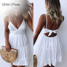 WildPinky Summer Women Lace Dress Sexy Backless V-neck Beach Dresses Sleeveless Spaghetti Strap White Mini Sundress Vestidos