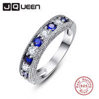 JQUEEN Round Blue Tanzanite White Zircon Rings For Women Silver Ring 925 Jewelry Pave Setting Crystal Jewelry Bijoux Femme