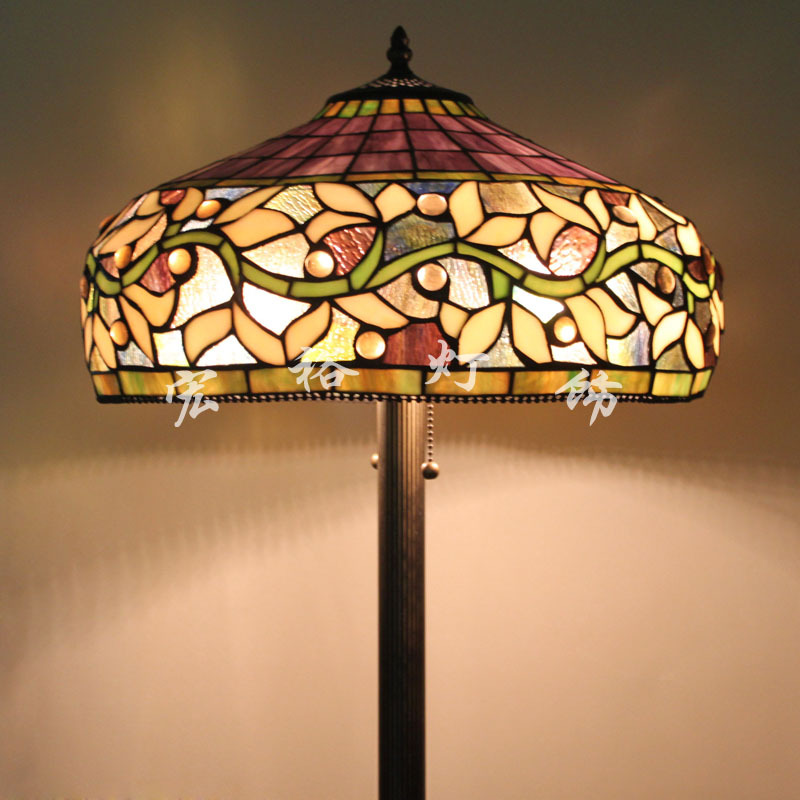 Living Room Lamp Shades: Upscale American Tiffany Stained Glass Floor Lamp Shade