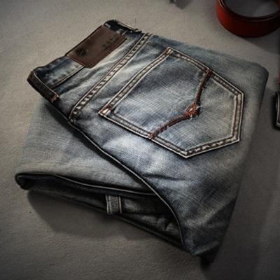 AIRGRACIAS брендовые джинсы ретро ностальгия прямые джинсы мужские размера плюс 28-40 повседневные мужские длинные брюки брендовые байкерские джинсы - Цвет: MG86
