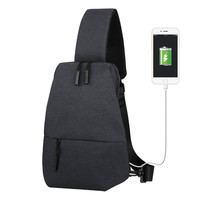 Nylon Waterproof USB Charge Anti Theft Handbags Casual Men Messenger Bags Chest Bag Money Phone Sling