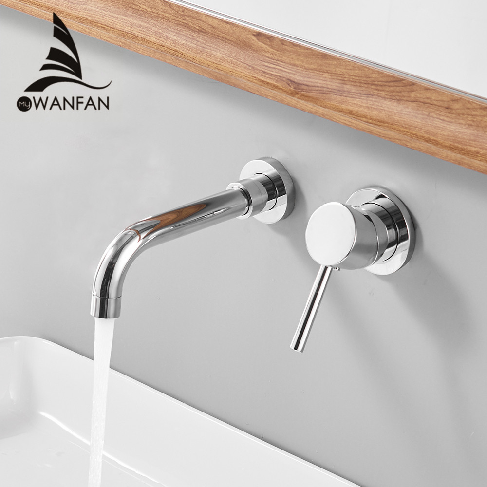 Basin Faucets Wall Mounted Brass Bathroom Sink Basin Mixer Tap Faucet Chrome Faucet Dual Handle Chrome