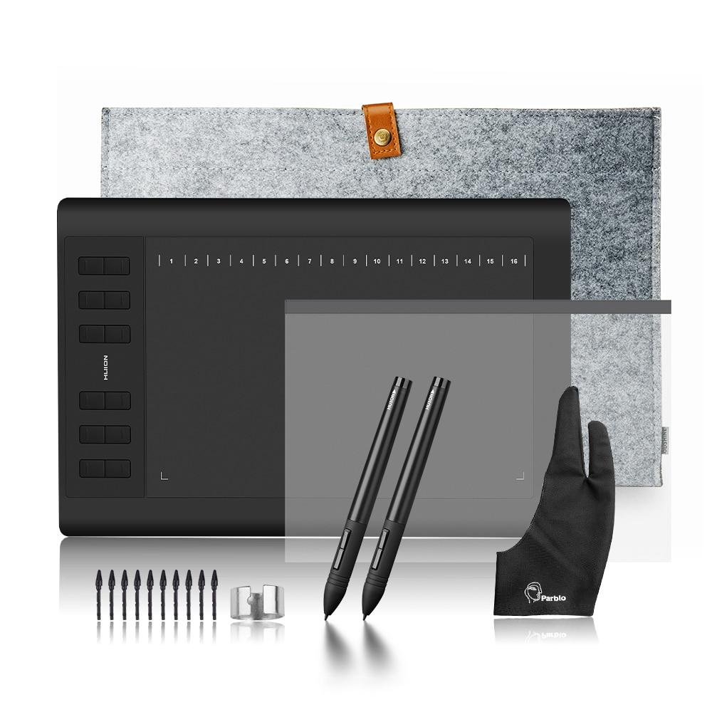 2 stylos Huion 1060 Plus Profession Dessin Tablet 8192 Niveau Stylo Pression Tablet + Écran protecteur + 15 Doublure sac + Deux-doigt Gant