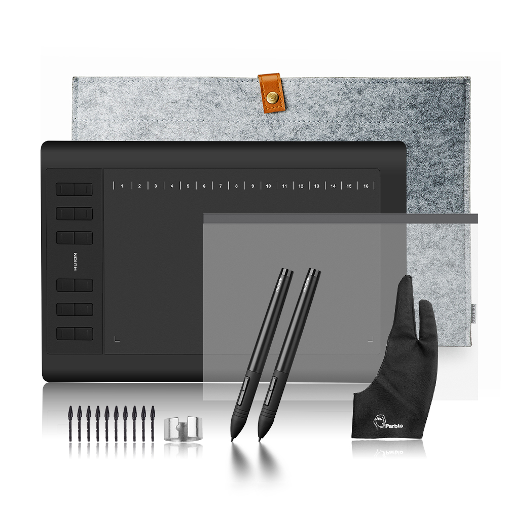 2 stylos Huion 1060 Plus Profession Dessin Tablette 8192 Niveau De Pression du Stylet Tablette + protecteur D'écran + 15 Liner sac + Deux doigts Gant