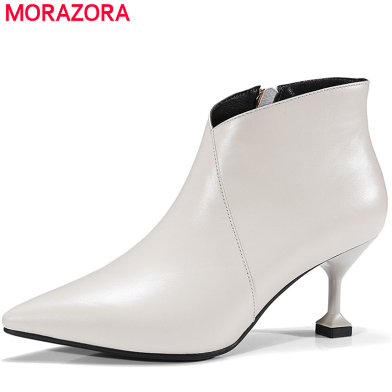 MORAZORA Top quality womens boots fashion punk high heels shoes woman genuine leather shoes ankle boots spring autumn party memunia cow leather boots woman top quality ankle boots high heels shoes platform womens boots spring autumn black lace up