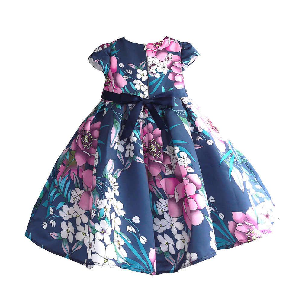 Vestido Floral para niñas azul Hi-lo para fiesta de boda de verano Boda de Princesa vestidos para Niñas Ropa para chicas Dancing Pageant talla 3-8T
