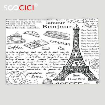 Custom Soft Fleece Throw Blanket Paris Decor Traditional Famous Parisian Elements Bonjour Croissan Coffee Eiffel Tower