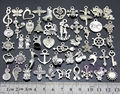 100pcs/Lot 50style Mix Vintage Silver Butterfly Anchor Cross Elephant Shoes Key Pendants Charms Beads Jewelry Findings Wholesale