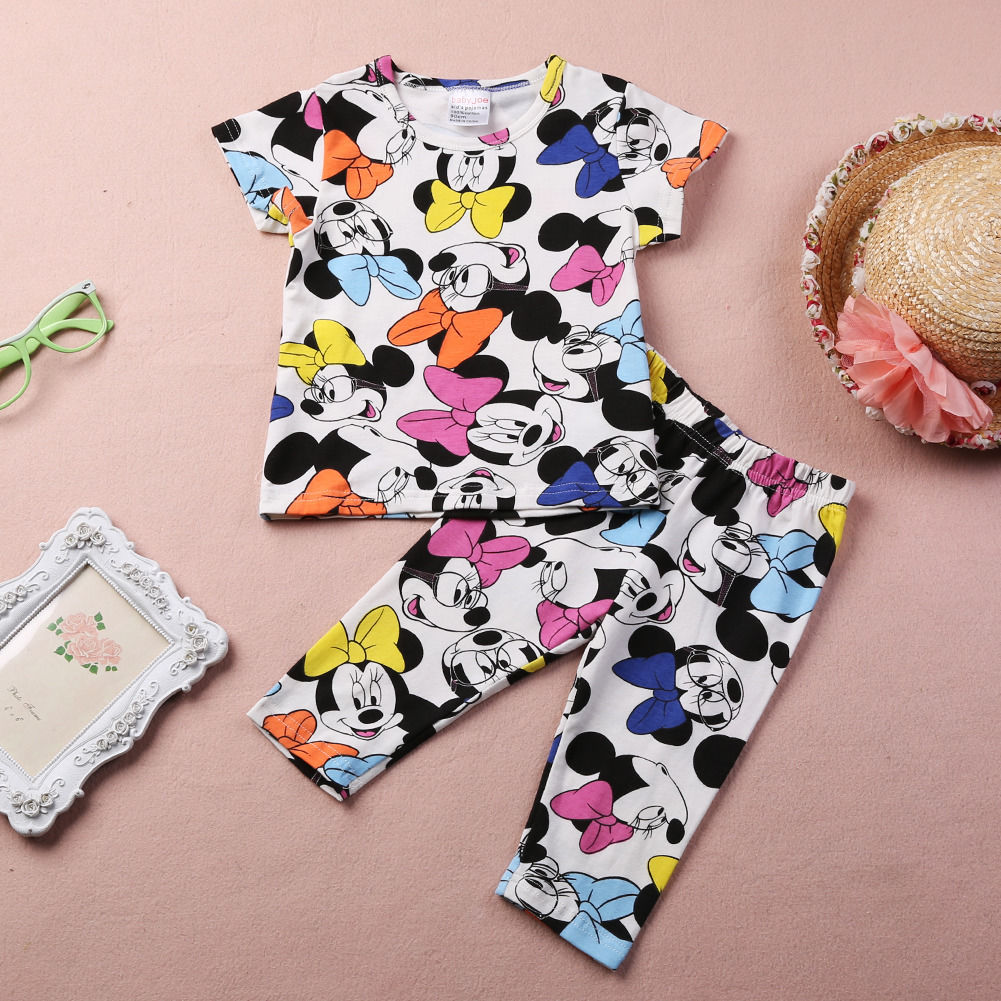 цена на Minnie Mouse Pajamas Set Sleepwear Baby Girls Kids 2Pcs Cute Short Sleeve Tops pants Homewear Sleepwear 2-7Y Clothes Set