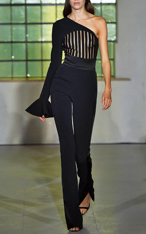 2019 Nuovo Elegante Nero Sexy Una Spalla Maniche Lunghe A Righe Ornamento Di Celebrità Del Commercio All'ingrosso Fasciatura Del Partito Tute E Tute Da Palestra Clubwears