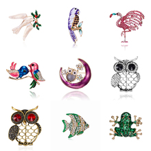 New Design Alloy Red Blue Enamel Bird Brooches Women Men's Metal Animal Brooch Pins Banquet Broche Gift Scarf Buckle цена 2017