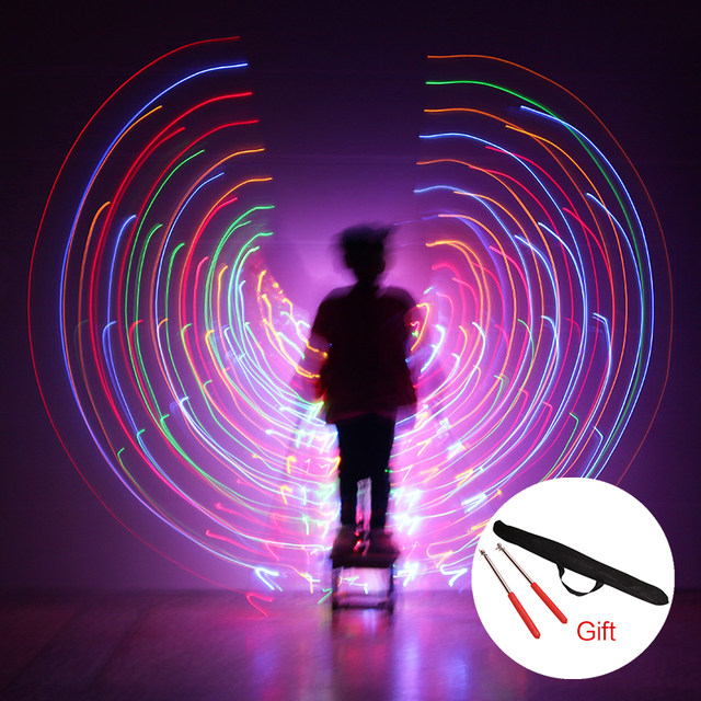 2018 Newest Children LED Wings Belly Dance Costumes 360 Egyptian Stage Performance Kids DJ LED Wings With Sticks