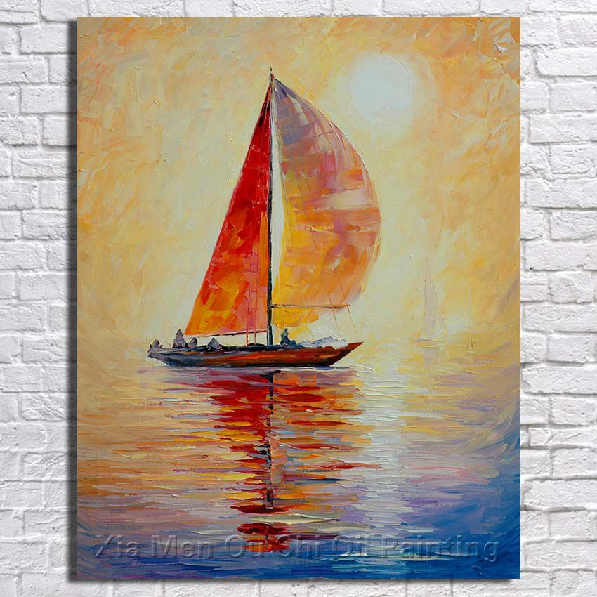 Ba Oil Painting Hot Sell Palette Knife Modern Boat In The Sea Landscape Canvas Oil Painting Wall