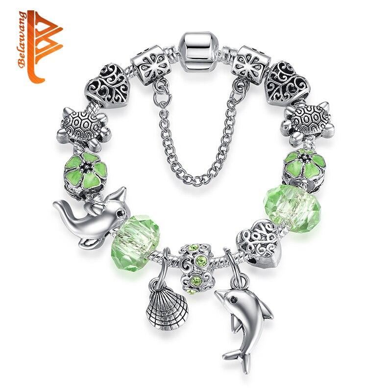 Fashion Green Murano Glass Beads Charm Bracelet Women Ocean Sea Turtles Dolphin Heart Silver Bracelet & Bangle Fashion Jewelry