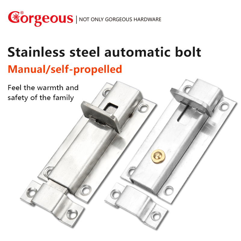 Gorgeous Stainless Steel Automatic Spring Bolt Lock Bathroom Door Latch Plug Buckle Door Bolt Anti-Theft Hardware Pin new quality practical steel lock body 304 stainless steel anti theft lock outer door lockset dead bolt locks