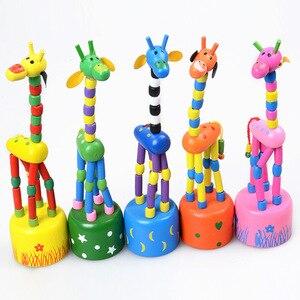 Image 2 - Brinquedos do bebê brinquedo de madeira criativo das crianças girafa fantoche balanço animal de terracota palhaço tambor pai criança brinquedos