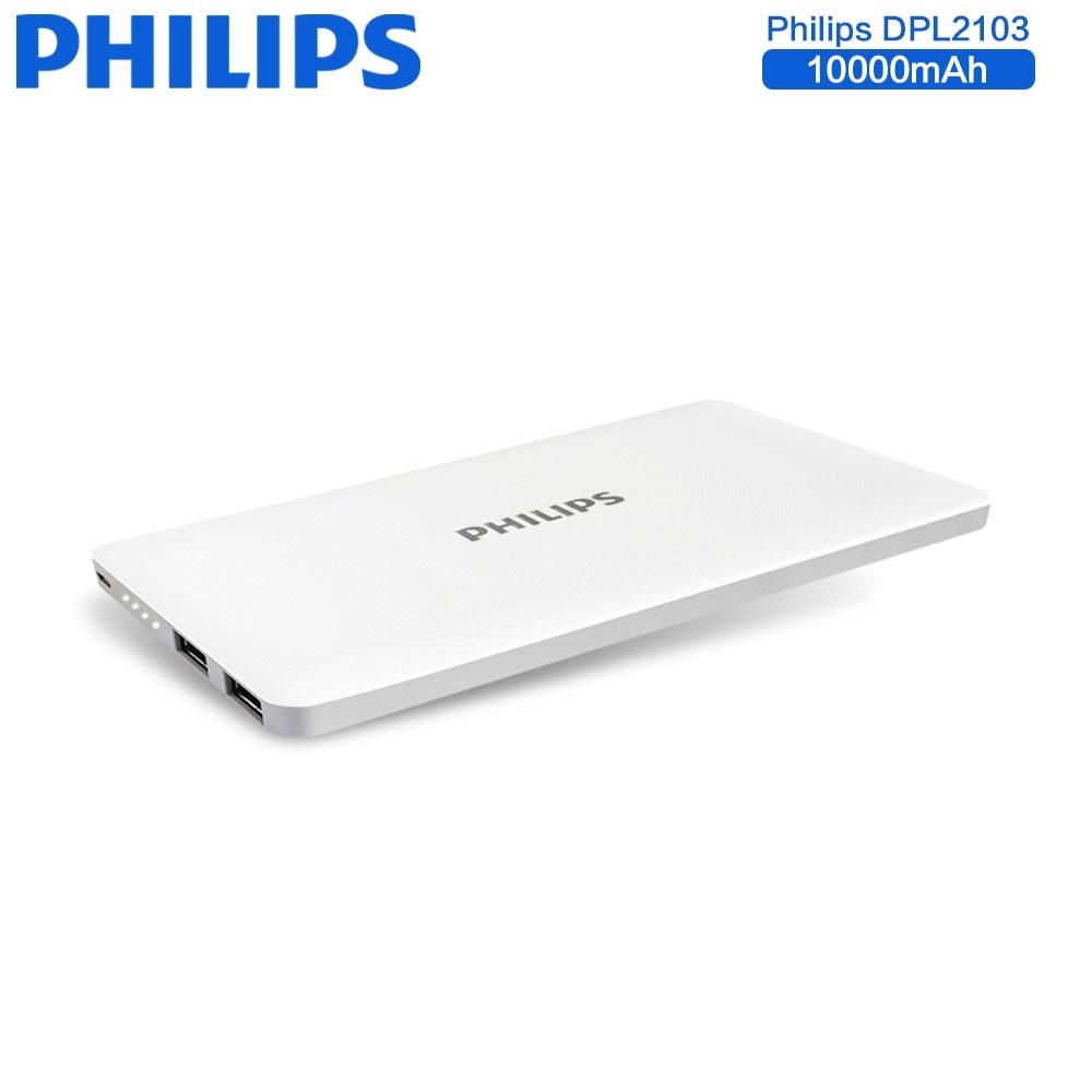 Цена за Philips универсальный 10000 мАч power bank dual usb ультра тонкий внешний зарядное устройство резервного копирования для iphone 6s 7 плюс samsung galaxy S8