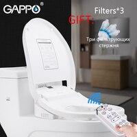 Gappowarm Смарт сиденье для туалета унитаз биде сиденье на унитаз с подогревом крышка пластика Электрический умное сиденье для унитаза тепла с