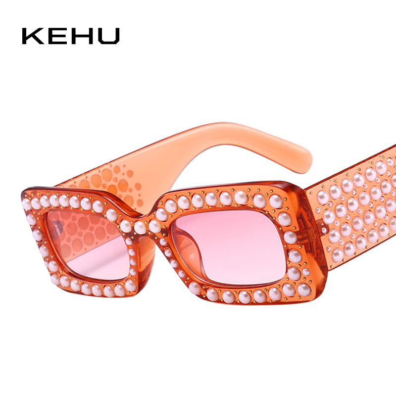 KEHU Brand Design New Fashion Square Sunglasses Women Pearl Rivets Unique Woman Sunglasses Big Frame Retro Glasses UV400 K9383