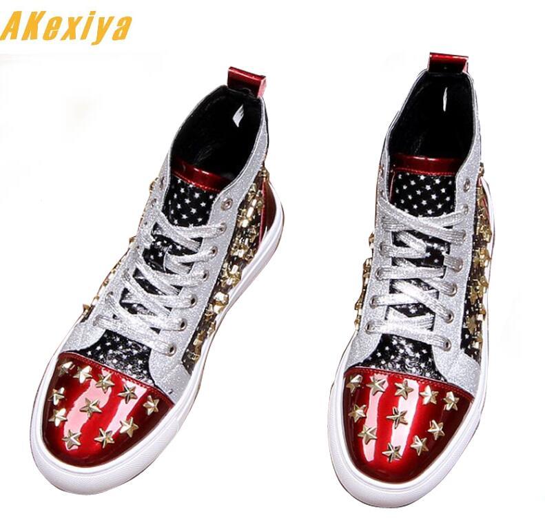Ayakk.'ten Erkek Rahat Ayakkabılar'de Erkekler marka tasarımcısı perçin Amerikan bayrağı ayakkabı Rahat Flats Moccasins 2019 Erkek Yüksek Üst Kaya hip hop karışık renk ayakkabı adam için'da  Grup 1