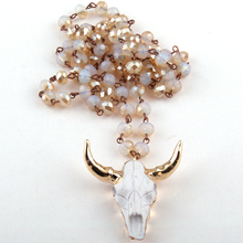 Fashion Bohemian Jewelry 5*8 Crystal Rosary Chain Link Crystal 3 Color Horn Pendant Necklace For Women Ethnic Necklace