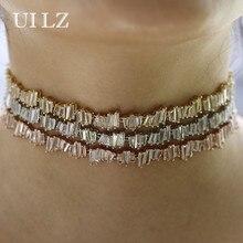 UILZ Trapecio Sparkling Cubic Zircon Ajustable Collares Gargantilla Collar de Moda Para Las Mujeres Joyería Del Partido UN076