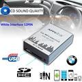 Para o Branco 12PIN Interface BMW E39 X3 X5 Z4 Z8 MINI R5x USB SD AUX máquina CD Carro MP3 player de Música Adapte mudança