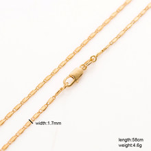 Drbonham long 60cm thin 1.7mm 18KGF gold filled flat anchor chain necklace for pendant women girls summer link chain(China)