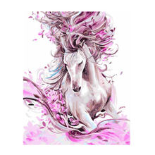 WEEN Framed Pink Horse Art Animal Wall Painting On Canvas Print Cute Cat Picture For Living Room Decor 16*20 inch