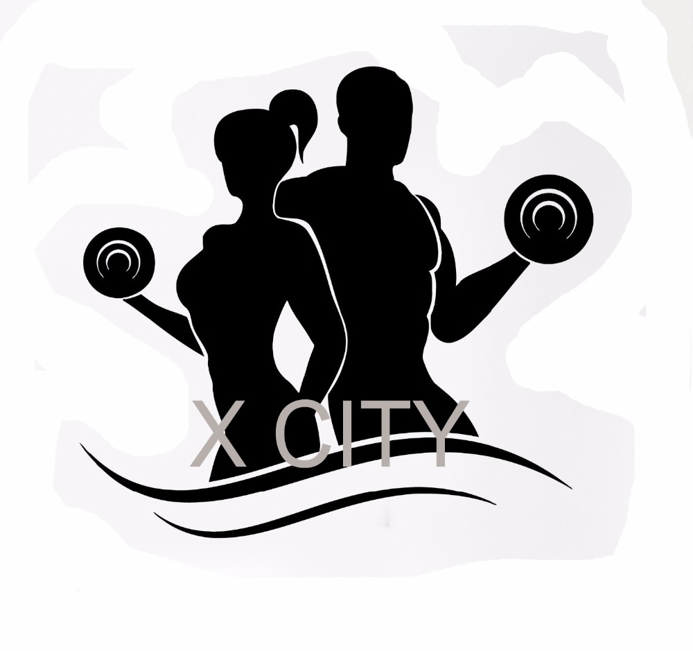 Wall Decal Sport Fitness Bodybuilding Silhouette Dumbell