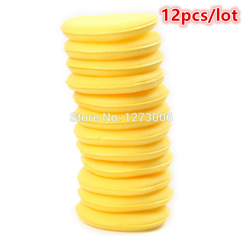 12Pscs/lot Yellow Round Car Vehicle Polish Soft Cleaning Sponge Brush Car Wash Polishing Tool Car-styling For Aoto Moto HOT SALE