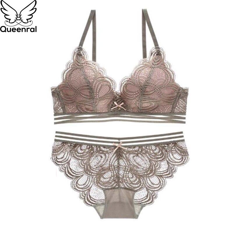 Queenral Sexy Lace Bra Set Push Up ropa interior conjunto de lencería  mujeres alambre libre sujetador apuestas 34B Spandex Rosa Intimates lingerie  conjunto ... 12188417ab0e