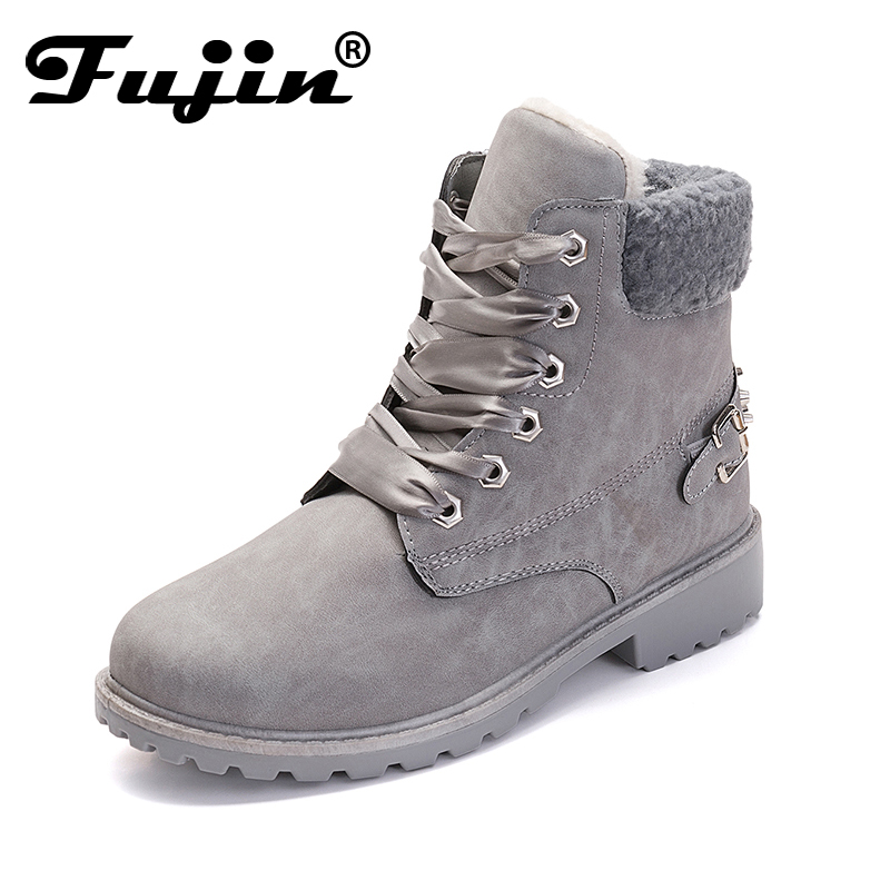Fujin women snow boots new fashion retro cool autumn and winter boots Ladies Lace Up High Heels Shoes Woman Martin Boots high quality snow boots 2017 autumn and winter new australia s 100