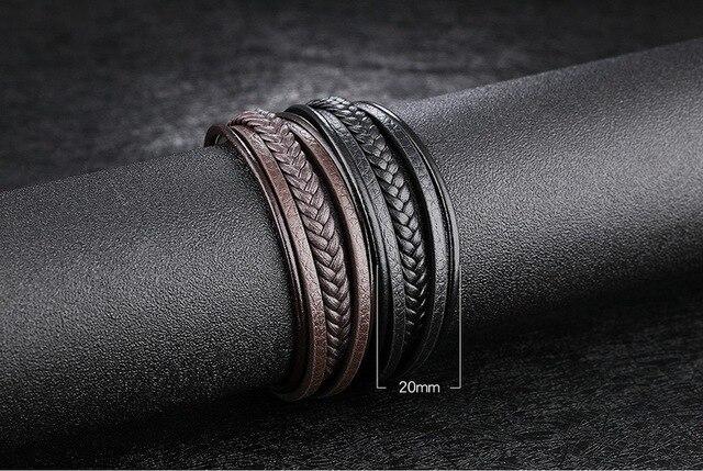 Фото многоуровневый браслет из нержавеющей стали с пряжкой коричневый цена