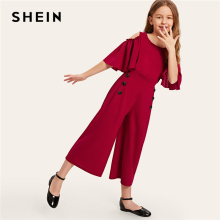 SHEIN Kiddie Solid Cold Shoulder Button Side Casual Girls Jumpsuit 2019 Summer Flounce Sleeve Wide Leg Zipper Long Jumpsuits