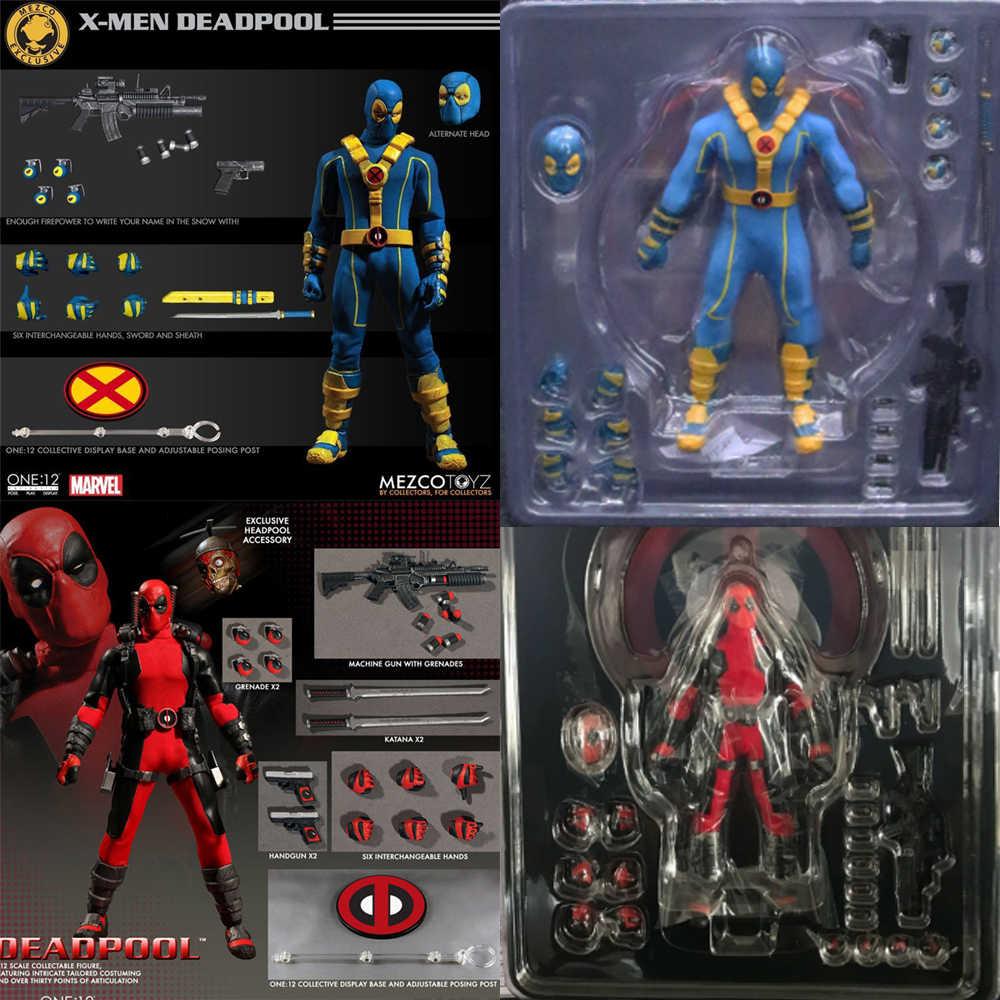 16cm Marvel Mezco juguetes One 12 Super Hero Deadpool x-men versión azul roja figura de acción