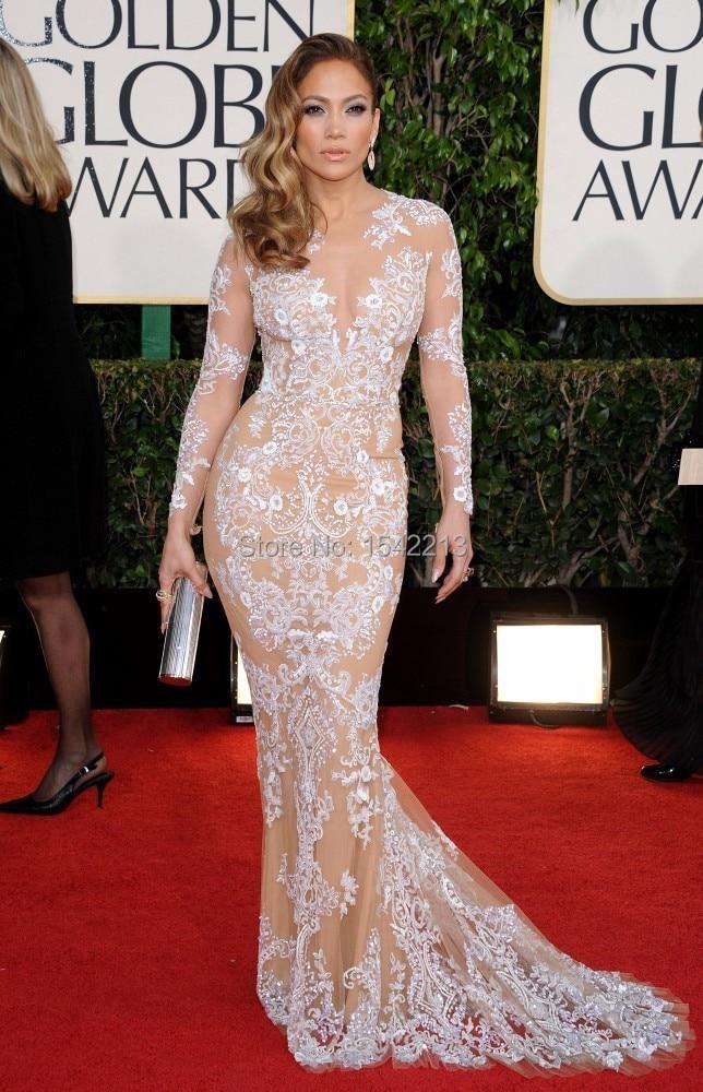Jennifer Lopez Dress Champagne Long Sleeves Mermaid Red Carpet Gown ...