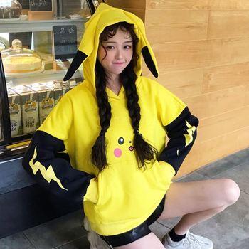 Women's Hoody Harajuku Thick Ulzzang Cute Print Loose Lazy Hooded Girl Vintage Kawaii Jumper For Women Hoodies Velvet Casual