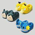 3 Styles Pokemon Go Cosplay Slippers Pikachu Psyduck Snorlax Mudkip Soft Plush Shoes Keychain Winter Shoes Slippers 28cm