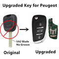 Actualizado 2 Botones 433 MHz Llave Del Coche A Distancia Para PEUGEOT 106 107 206 207 ID46 Chip Keyless Entry Fob Controler VA2 hoja